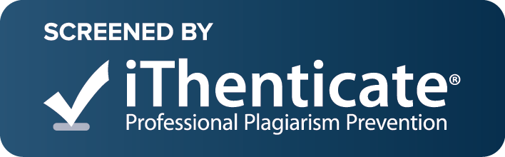 """This journal is Screened by iThenticate plagiarism software checker. All submitted manuscript are checked before being processed for peer-review""."